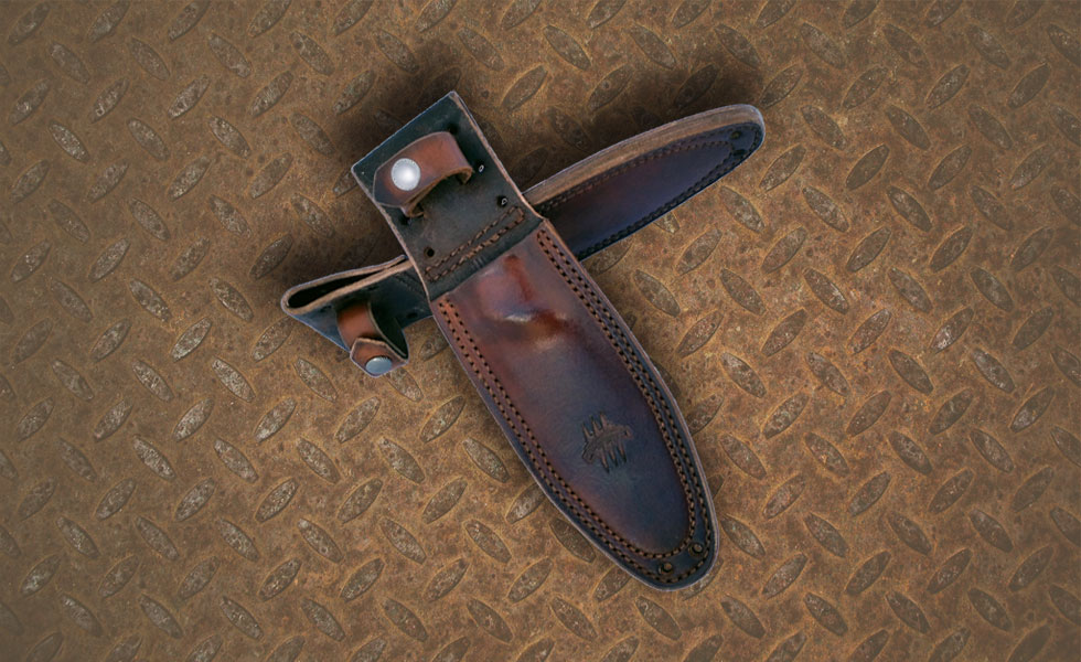 Leather Sheath, The Attleboro Knife, Grizzly Brown
