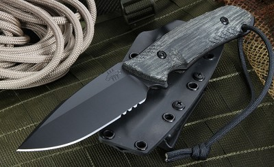 The Attleboro Knife - Serrated, Graphite Black